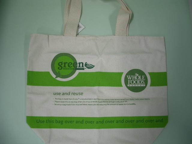 Whole Foods Marketの布製エコバッグ
